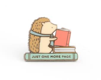 Hedgehog Book Pin, hedgehog enamel pin, book pin, book lover gift, hedgehogs, enamel pins