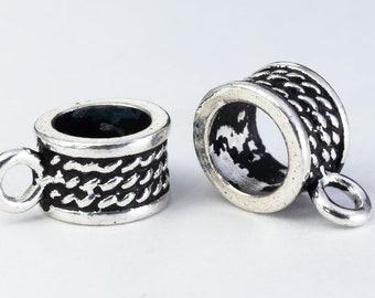 Bracelet Bails Necklace Bail 12x9mm 5mm hole FN1047 5 pcs Bails Silver Rope Design Bails Hanging Loop beads Bracelet Spacers with loop