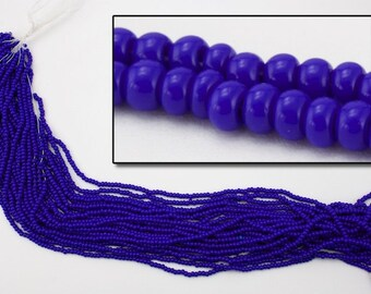 10//0 Opaque Cobalt Czech Seed Bead 10 Gm, Hank, 1//2 Kilo #CSF004