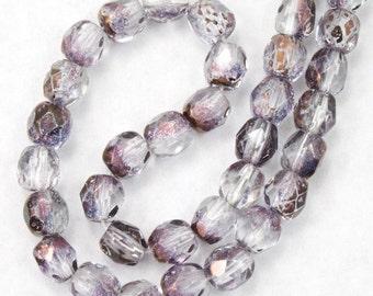 #GBB094 50 Pcs 4mm Transparent Brown//Crystal Swirl Fire Polished Bead