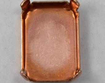 4 Pcs 22mm Copper Rectangular Cabochon Setting #1556