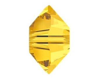 G36 10pcs Yellow Patterned Flat Bicone Lampwork Beads 29x12mm
