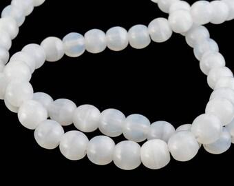 4mm Opal White Druk Bead 100 Pcs #GAB049