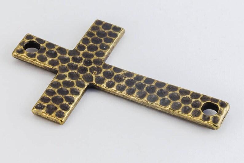40mm Antique Brass TierraCast Hammered Cross #CK373 10 Pcs