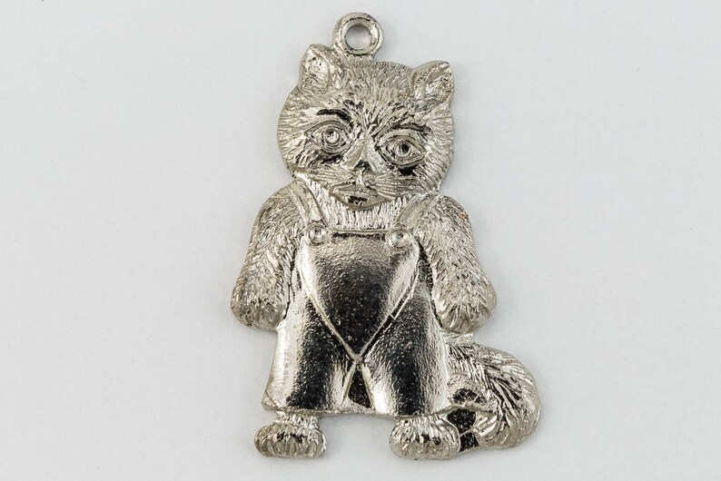 20mm Silver Kitten in Overalls Charm #CHC121