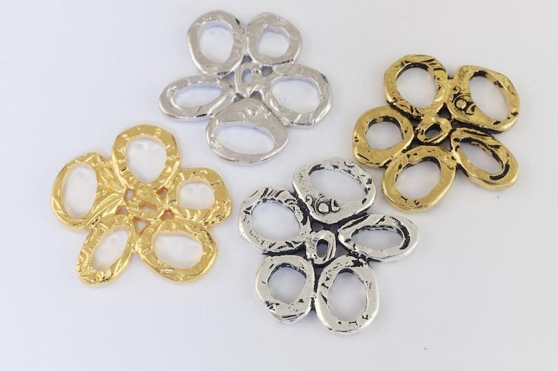 #CK454 10 Pcs 25mm Antique Gold Tierracast Intermix Five Rings Link