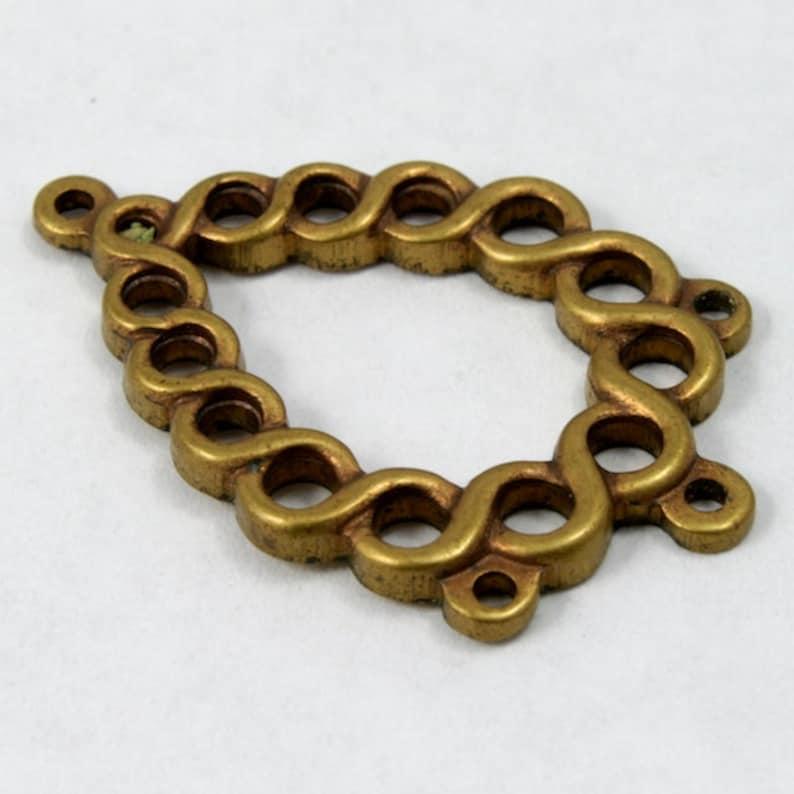 2 Pieces #1406 20mm Flat Twisted Teardrop Brass Charm