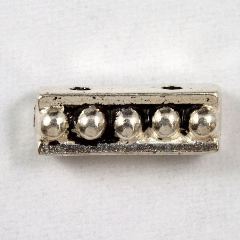 3.5mm x 10.75mm Antique Silver TierraCast Beaded Two Hole Spacer Bar #CK102