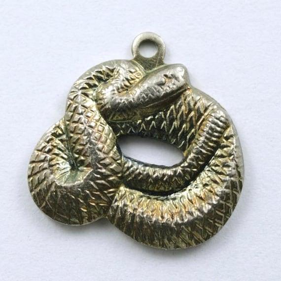 15mm argent vieilli enroul serpent charme 217 etsy. Black Bedroom Furniture Sets. Home Design Ideas
