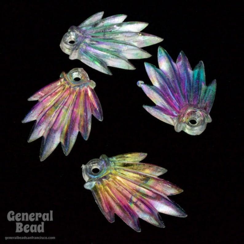 10 Pcs #4441 25mm Crystal AB Lucite Deco Fan
