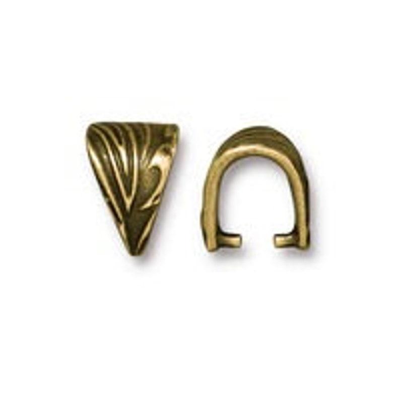 #CK722 20 Pcs 10mm Antique Gold TierraCast Jardin Pinch Bail