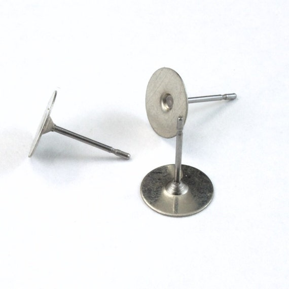 800 Stainless Steel Stud Earring Posts 10mm Pad /& Clutch HypoAllergenic USA Made