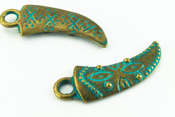 25mm Antique Brass//Patina Pewter Tusk #CHA312