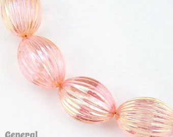 14mm x 18mm Transparent Pink AB Fluted Oval Bead (4 Pcs) #4278