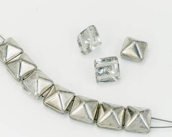 12mm Silver/Crystal 2 Hole Pyramid Bead (15 Pcs) #KZF105