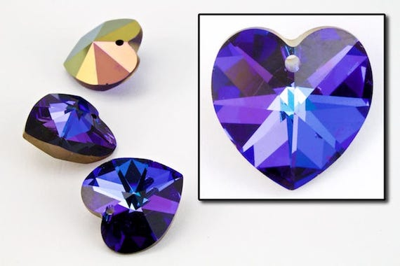 10.3mm x 10mm Swarovski 6202 Amethyst Heart Drop 2 Pcs, 24 Pcs