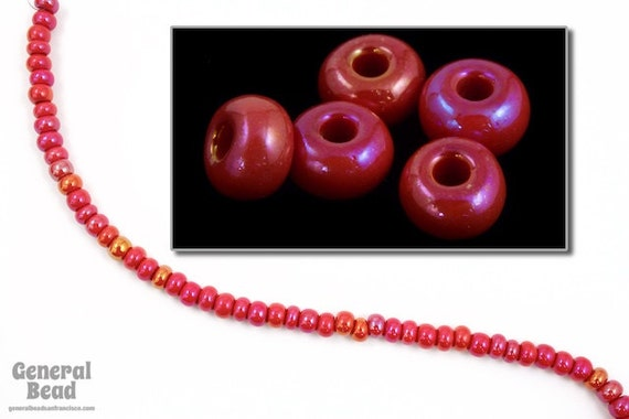 6//0 Opaque Red//White Stripe Seed Bead #CSB073 10 Gm, 1//2 Kilo