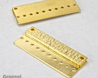 30mm Gold Tone Textured Beadable Pendant Bar #3439