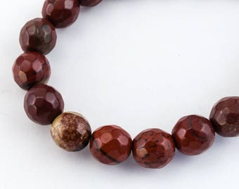 8mm Apple Jasper Faceted Round Polished Bead (25 Pcs)