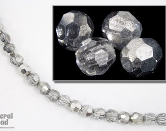 4mm Silver/Crystal Faceted Round Bead (36 Pcs) #5127