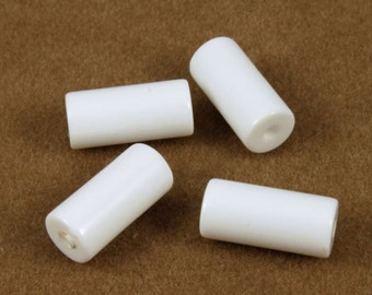 12mm Seamless White Lucite Cylinder Bead (4 Pcs) #688