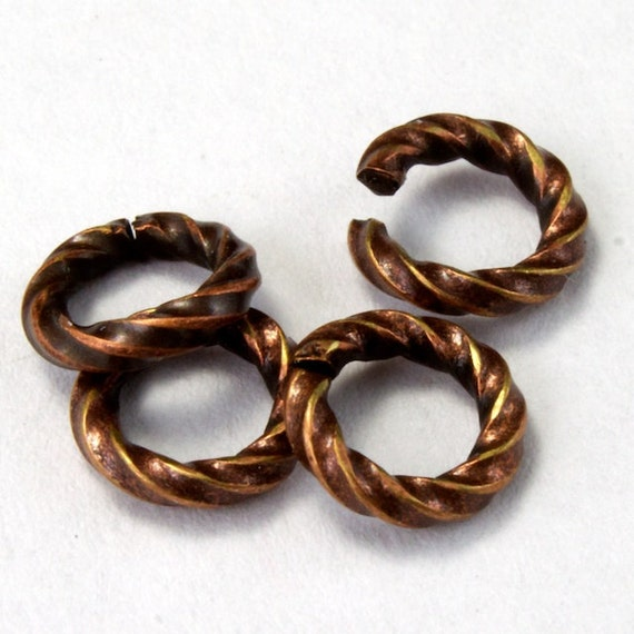 Jump Rings 6mm Twisted antique copper plated 16g findings 100 pcs jump rings