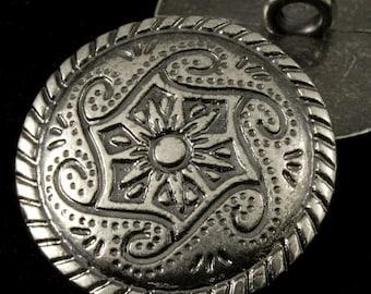20mm Pewter Mandala Swirl Button #1815