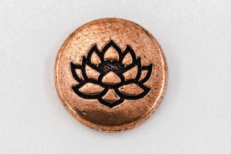 #CK384 20 Pcs 12mm Antique Copper TierraCast Lotus Button