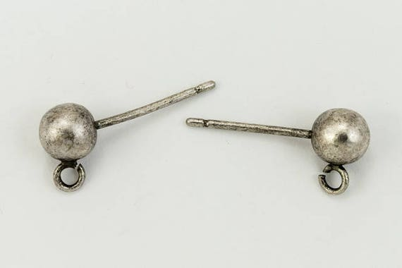 5mm Antique Silver Ball Ear Post with Loop #EFG100