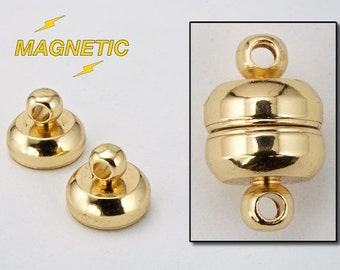 6mm x 11mm Gold Round Magnetic Clasp #CLA039