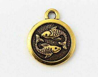 19mm Antique Gold Tierracast Pewter Pisces Charm #CKB219