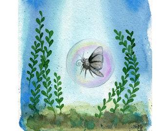 Bubblefly - 8x10 Art Print  - Moth Butterfly in Bubble in the Ocean - Art by Marcia Furman