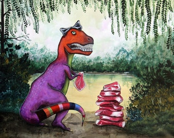 979a8b54 T-rex With A Pile Of Meat To Eat ORIGINAL Oil on Canvas - A Kid  Collaboration - girl dinosaur with steaks