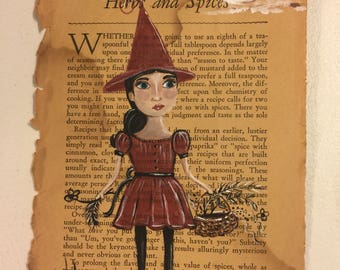 Witch in Red Original Painting on Book Page