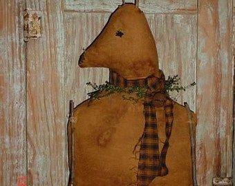 Primitive ChriStMas PATTERN Reindeer Door Doll
