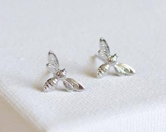 SALE . honeybee earrings . little bee stud earrings . tiny bee earrings . silver bee earrings . honeybee studs . simple bee earrings