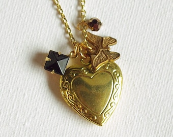 CLEARANCE . bronze butterfly (bits and pieces sale) // gold heart necklace . locket charm necklace . butterfly charm necklace . heart locket
