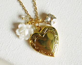 CLEARANCE . white waterlily (bits and pieces sale) // gold heart necklace . locket charm necklace . flower charm necklace . heart locket