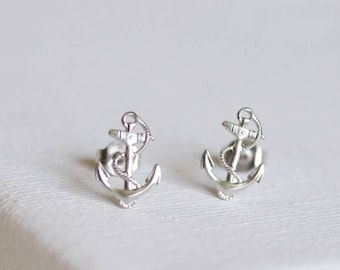 anchor stud earrings . nautical anchor earrings . silver anchor earrings . simple anchor nautical jewelry anchor jewelry