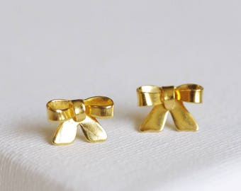 SALE . gold bow earrings . bow stud earrings . ribbon stud earrings . gold bowknot studs . simple ribbon earrings . knot studs