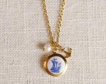 tiny anchor locket necklace . nautical charm necklace . sailboat necklace . silver or gold anchor necklace