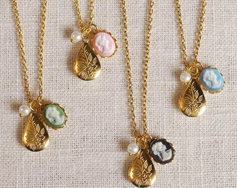 cameo locket necklace . locket charm necklace . vintage inspired jewelry . cameo jewelry . cameo charm . small cameo necklace