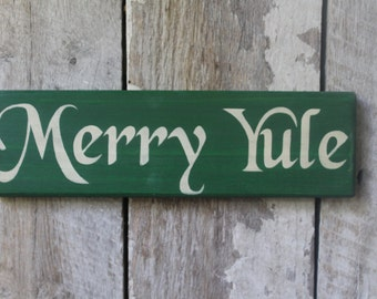 Primitive Wood Sign Merry Yule Holiday Decor Wicca Pagan Yule Decoration Christmas Decor Boho Home & Living