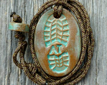 Outdoor Adventure Appalachian Trail (AT) Hiking Boot Print Necklace in Turquoise
