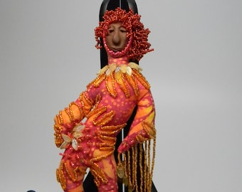 "Groove - 9.25"" OOAK Spirit Doll Hand bead embroidered with fringe - display NOT INCLUDED"