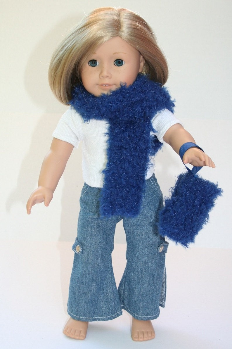 Blue Fuzzies  doll's muff and scarf image 0