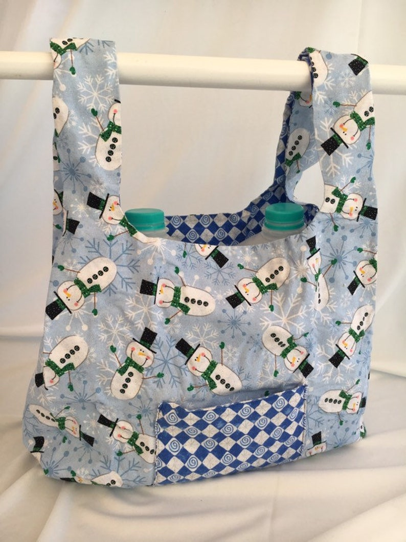 Tumbling Snowmen reusable grocery bag image 0