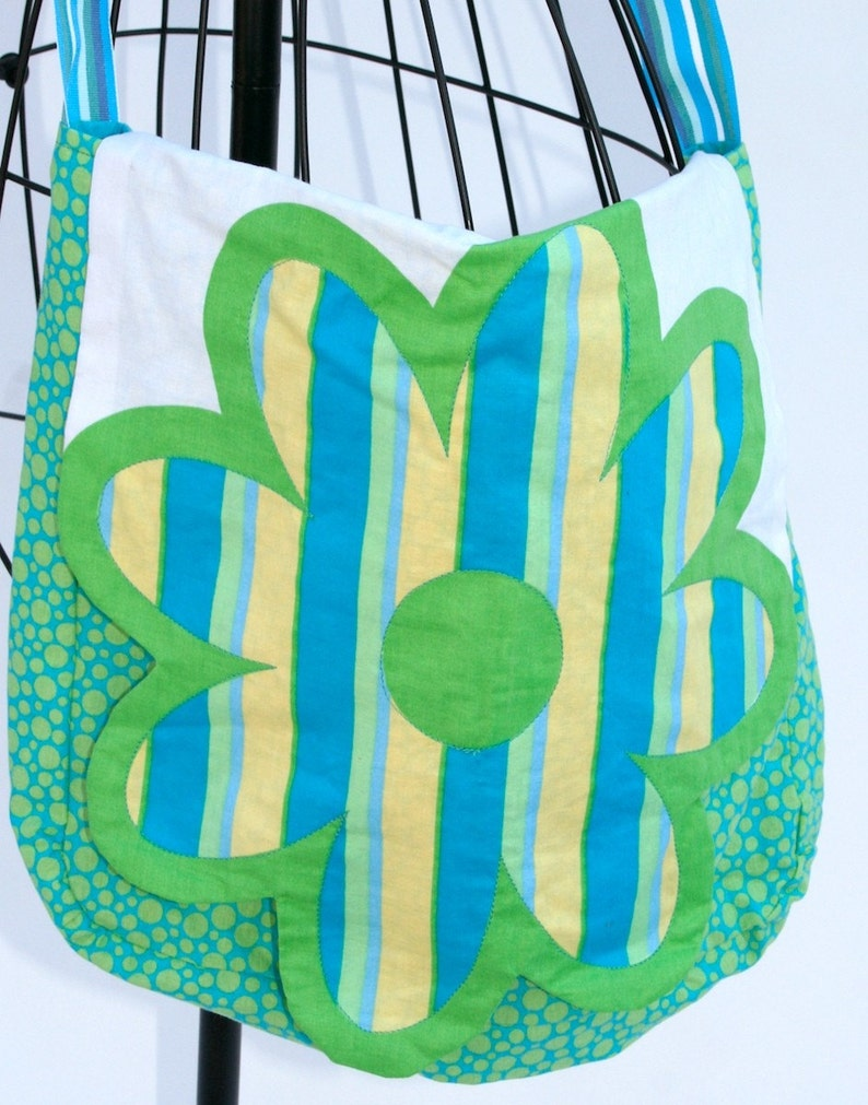 Flower Power  messenger-type bag in turquoise and green image 0