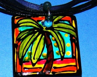 Palm Tree Pendant Jewelry Hand Painted WEARABLE Art  custom made