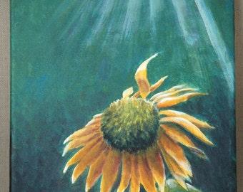 "Hope Sunflower Original Acrylic Painting 9"" x 12"""